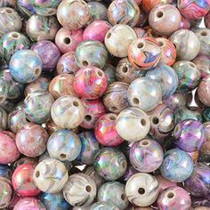 Souarts Multicolor Acrylic Round ball Loose Beads 8mm Pack of 300pcs