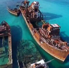 The ship wrecks of tangalooma, on the western side of Moreton Island (this one is the third largest sand island in the world - South-East Queensland, Australia