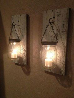 Mason Jar Candles-could use as night lights w battery or solar-powered votives