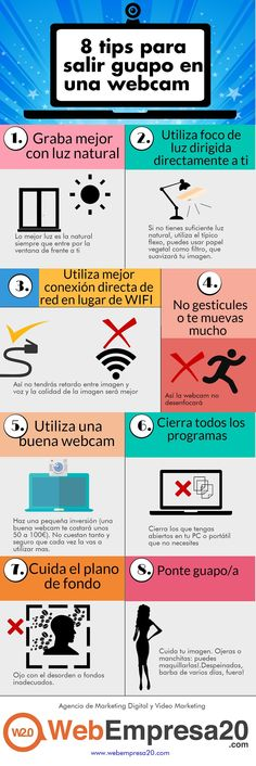 8 tips para web cam Social Media Digital Marketing, Marca Personal, Community Manager, Management, App, Marketing Ideas, Blogging, Internet, Socialism