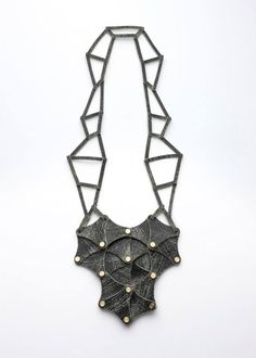 "Christina Karakalpaki presents ""The Three Moirai"" Necklace - Leather, acrilic and bronze"