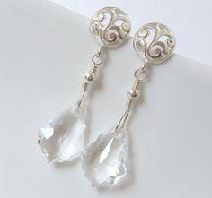 Crystal Earrings Bridal Earrings Silver by merryalchemybridal, £24