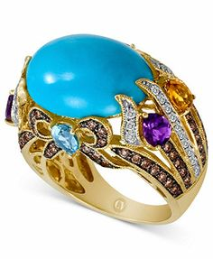 CARLO VIANI® 14k Gold Ring, Turquoise (10mm) and Multistone