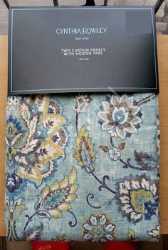 Attractive NEW Cynthia Rowley Teal Yellow Jacobean Floral (2) Window Curtain Panels  104x84 Within Cynthia Rowley Curtains