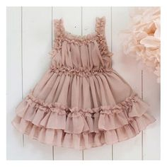 """So light and fluffy! Perfect for everyday wear. We offer it in pink and blush. ***Match it with any necklace in our shop*** Wash & Care Instructions: Wash on """"Delicate"""" or """"Hand-wash"""" cycle in cold wa Baby Girl Dress Design, Girls Frock Design, Kids Frocks Design, Baby Frocks Designs, Kids Dress Wear, Girls Lace Dress, Little Girl Dresses, Flower Girl Dresses, Baby Girl Frocks"""