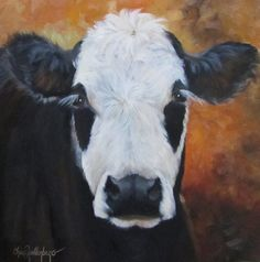 Tess is an oil painting of a black and white cow with long eyelashes and beautiful eyes. Her white face with spotted areas around her eyes and