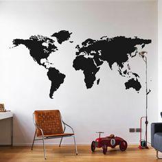 wereldkaart-muursticker-zwart-goedkoop-groot-klein-wit-grijs Kidsroom, Boy Room, Kids Furniture, My Dream Home, Room Inspiration, Kids Bedroom, Interior Decorating, Room Decor, Living Room