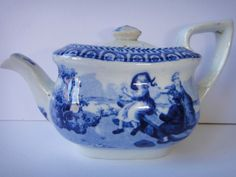 Delightful Early Childs Toy Miniature Blue White Teapot possibly DON Antique China, Vintage China, Antique Pottery, Blue And White China, Chocolate Pots, Teacups, Teapot, Tea Party, Flow