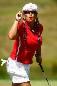 Christina Kim keeping the crowds cheering at the 2009 Solheim Cup.
