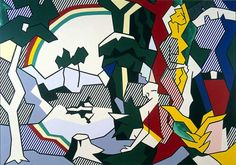 1980 - LANDSCAPE WITH FIGURES AND SUN b - Oil and magna on canvas (244 x 305 cm)