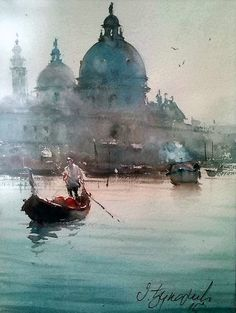 Dusan Djukaric Venice Gondola Watercolour Private collection Santa Maria della Salute (English: Saint Mary of Health. Watercolor City, Watercolor Landscape Paintings, Watercolor Artwork, Watercolor Artists, Landscape Art, Beach Landscape, Watercolor Illustration, Venice Painting, Watercolor Architecture