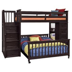 NE Kids Schoolhouse Stairway Loft Bed with Chest End - Chocolate - Bunk Beds & Loft Beds at Hayneedle