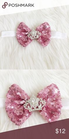 Sequin Crown Baby Headband Super cute and girly sequin bow baby Headband perfect for your little mini me! New, never been worn. Reasonable offers always accepted. Bundle more to save more 🎀✨ Accessories Hair Accessories
