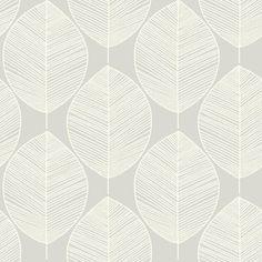 Arthouse Retro Leaf Wallpaper in Silver - 408209