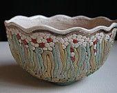 Bukran Unique Arts and Crafts Bowl 7 Birthday Gold Flower Hand Painted Handmade Gift Hungarian Present Ceramics Original Fruit Candy