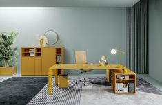 Home Office Space, Office Desk, Melamine Wood, Yellow Desk, Office Workstations, Meeting Table, Office Furniture Design, Desk Shelves, Stores