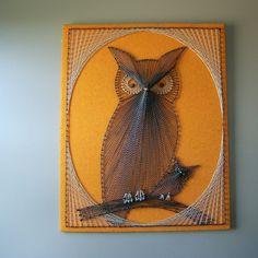 Vintage Owl Nail and String Art. $15.00, via Etsy.