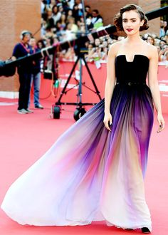 Elie Saab on The Red Carpet - Lily Collins wearing Spring 2014 Haute Couture at the Rome Film Festival