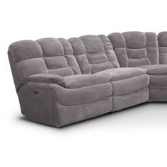 Big Softie 6-Piece Power Reclining Sectional with Chaise and 2 Reclining Seats | Value City Furniture Reclining Sectional With Chaise, Armless Chair, Sofa, Fabric Sectional, Value City Furniture, Living Room Seating, Power Recliners, Full Mattress, Softies