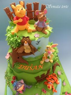 www.cakecoachonline.com - sharing....Winnie the Pooh & friends cake