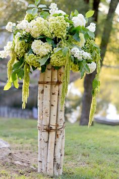 hydrangea, birch, wedding flowers, lake wedding
