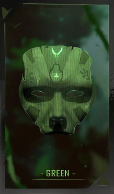 GREEN mask for FAWKES novel, artwork by @mishmadoodls