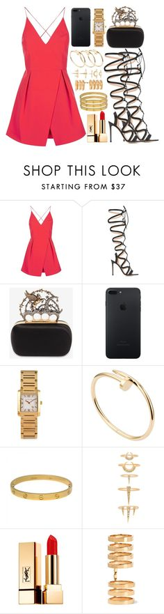 """inspired going out outfit"" by cristinahope on Polyvore featuring moda, Topshop, Gianvito Rossi, Alexander McQueen, MICHAEL Michael Kors, Cartier, Luv Aj, Yves Saint Laurent y Repossi"