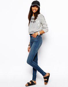 3111 = Тертые cиниe джинсы скинни с завышенной талией ASOS PETITE Ridley