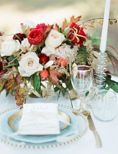 Photo from Fall Harvest Styled Shoot collection by Tracy Enoch Photography Wedding Arrangements, Wedding Table Settings, Wedding Centerpieces, Wedding Decorations, Place Settings, Wedding Tables, Floral Arrangements, Winter Wedding Flowers, Autumn Wedding