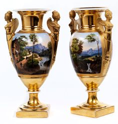 pair of French Empire fireplace vases in porcelain  Height:. Per 38.5 cm France, first third of the 19th century.