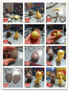 How-to Woezel en Pip van fondant. Voor meer uitleg kijk op mijn blog (http://www.zoetezinnen.nl/woezel-en-pip-van-fondant/).