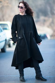 Gorgeous Black Cashmere Coat with long sleeves with cuffs and 2 side big pockets. This Coat has no linen ! Unique Ends and Edgy LOOK ! Extravagant and Unique Brown Asymmetrical Cashmere Coat Wear it with blouse,shirt,top ,tunic... Comfortable and always in Style! Be Modern and Elegant and DARE to WEAR it !  ♥ THE PERFECT GIFT EVER Solution ♥ ♥ I wrapped all garments in my Boutique in a special UNIQUE way ♥ I Love this Gorgeous Garment! This is one of my Favorite ! Always a STAR when wearing…