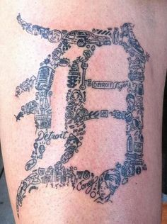 Wow what a creative tattoo...that I will never get but pretty awesome artistry.  Representin' - via Pure Detroit