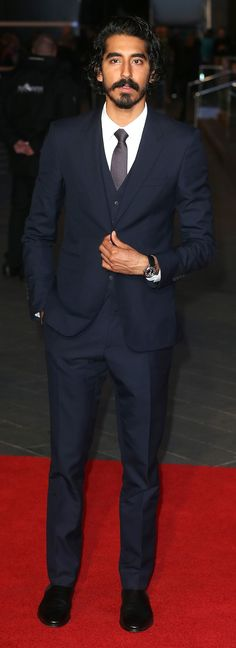 British actor Dev Patel wearing Burberry tailoring to the premiere of Lion at the BFI London Film Festival