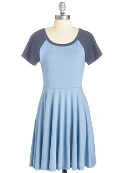 Revel the Playing Field Dress in Sky - Blue, Solid, Casual, Athletic, A-line, Short Sleeves, Knit, Good, Mid-length, Variation, Scoop