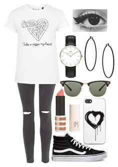 """Untitled #285"" by leahgomezanderson ❤ liked on Polyvore featuring Zero Gravity, Vans, Topshop, Tee and Cake, Ray-Ban and Daniel Wellington"