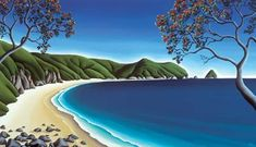 """Diana Adams Print """"Secluded Cove"""" for Sale - New Zealand Art Prints Nz Art, Art For Art Sake, Seascape Paintings, Cool Paintings, The Joy Of Painting, New Zealand Landscape, New Zealand Art, Maori Art, Naive Art"""