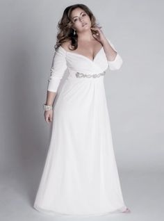 An elegant empire waist white Plus Size evening dress with long sleeves.  Our USA dress design firm can create long sleeve #plussizeeveningdresses like this for you in any color, size or with any change.  We specialize in affordable custom plus size evening dresses.  We can sketch a formal gown design based on your preferences.  We can also make a replica of any couture dress from a picture. Contact us for pricing & details at www.dariuscordell.com/featured/plus-size-evening-dresses-ball-gowns/