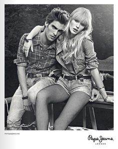 Enlisting Anne Vyalitsyna for its spring 2011 campaign, Pepe Jeans pairs the Russian leading model with Jon Kortajarena for a series of smoldering images with a… Jon Kortajarena, Pepe Jeans, Couple Posing, Couple Shoot, Posing Couples, Poses, Couple Photography, Fashion Photography, Photography Ideas