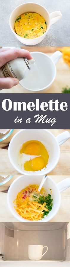 EASY 2 min Microwave Mug Omelette! Perfect for a busy day, only have to clean one dish, and it tastes great! 200 cal, #lowcarb #healthy