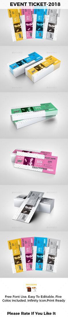 Buy Event Ticket by on GraphicRiver. Event Ticket This is a Event Ticket anybody can use this ticket. it is designed by five color for looking good . Ticket Design, Stationery Printing, Ticket Template, Print Templates, Color Themes, Color Change, Event Ticket, Custom Design, Fonts