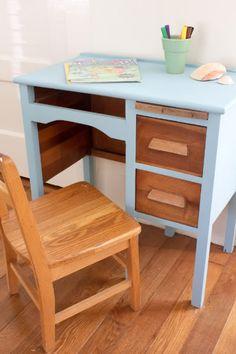 little blue painted wooden desk classroom desks tybee island georgia via the lettered cottage