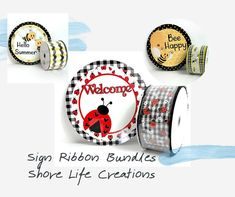 Take the guess work out of matching your ribbon to your sign! Wreath Supplies, Diy Supplies, Happy Summer, Custom Homes, Etsy Seller, Bee, Ribbon, Diy Crafts, Wreaths