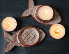 Ceramic Tea Light Holder-Tealight holder-Ceramic Fish-Candle Stand-Ceramics And Pottery