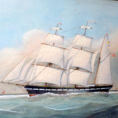 19th Century Portrait of a Three-Masted Clipper Ship at Sea
