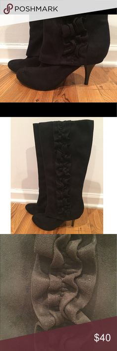 Fergalicious by Fergie suede knee boots Black suede ruffled kitten heel knee boots Fergalicious Shoes Heeled Boots
