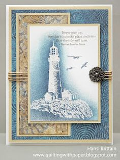 """By Hansi Brittain. Beautiful use of designer papers and sponging! Stamp from Close to My Heart's """"Perfect Day,"""" a retired stamp set."""