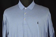 Ralph Lauren Polo Golf Mens XL Blue White Striped Short Sleeve Polo Shirt #RalphLaurenPoloGolf #PoloRugby Short Sleeve Polo Shirts, Striped Shorts, Mens Xl, Casual Shirts, Polo Ralph Lauren, Blue And White, Shirt Dress, Sleeves, Mens Tops