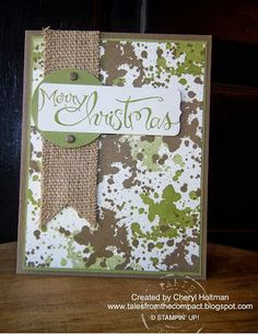 Tales From the Compact: Camo Christmas! Stampin Up Gorgeous Grunge. Great idea for OWH. Scrapbook Christmas Cards, Christmas Card Crafts, Christmas Cards To Make, Christmas Greeting Cards, Greeting Cards Handmade, Christmas Ideas, Merry Christmas, Masculine Birthday Cards, Masculine Cards