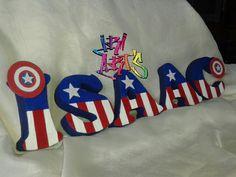 Diseño de Capitán América en letras de Anime/Telgopor #IriArt's todo para tus fiestas